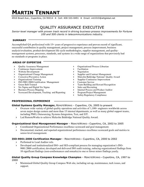sle resume for quality assurance manager qa qc engineer resume sle resume ideas