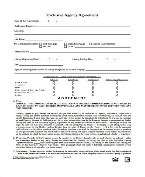 exclusive agency agreement template 8 agency agreement form sles free sle exle
