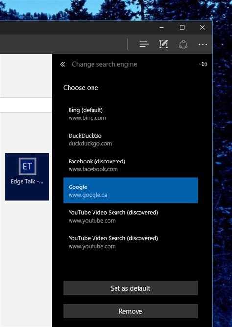 how to set as default search in microsoft edge