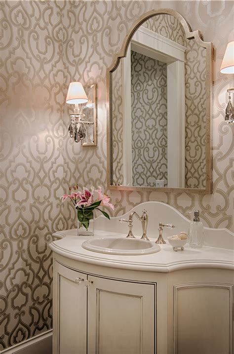 small powder room wallpaper ideas family home with neutral interiors home bunch