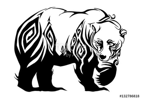 quot silhouette ferocious bear walking tribal design for