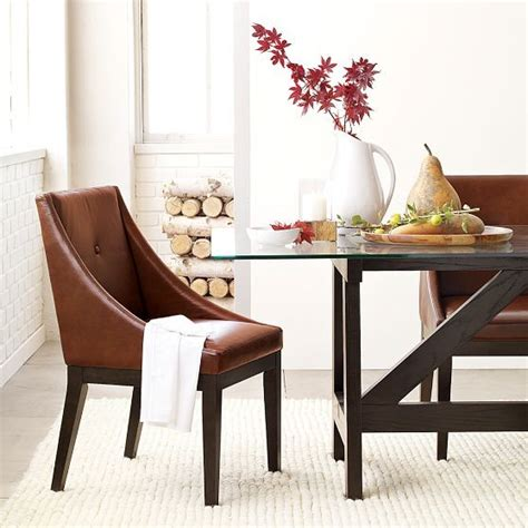 Curved Leather Dining Chair Curved Leather Dining Chair Modern Dining Chairs By West Elm