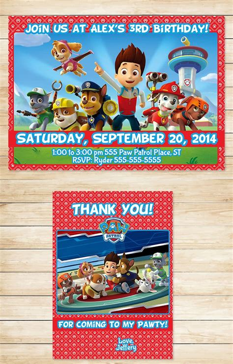 paw patrol thank you card template 17 best images about paw patrol printables
