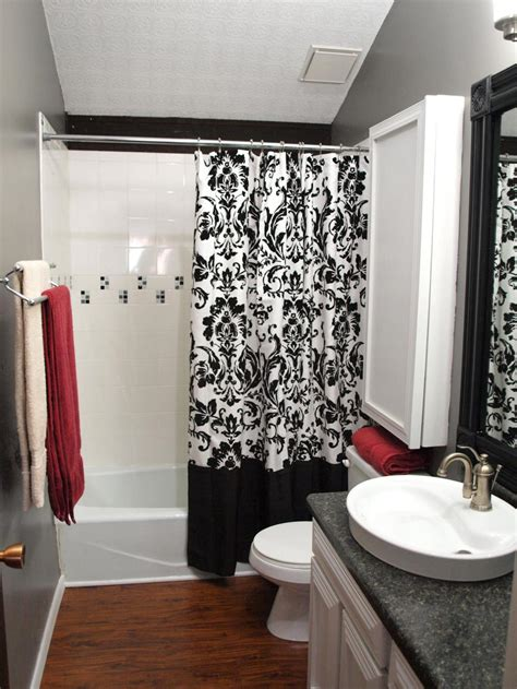 unique shower curtains designs with black and white color schemes for narrow bathroom ideas