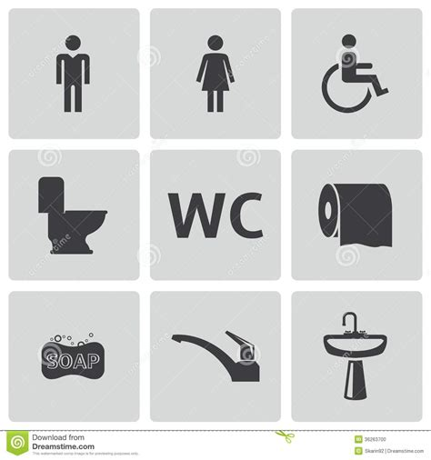 Womens Bathroom Icon Free Vector Vector Black Toilet Icons Set Stock Photo Image 36263700
