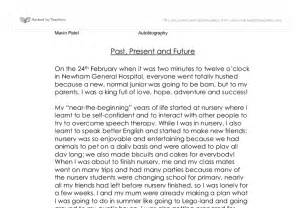 My Biography Essay by Autobiography My Past Present And Future Gcse Marked By Teachers