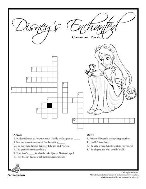 printable disney puzzle disney s enchanted crossword puzzle woo jr kids activities
