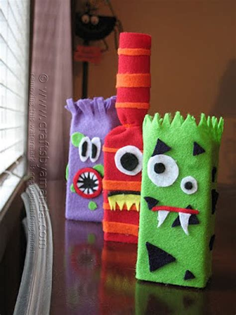 quick and easy halloween decoration ideas recycled things juice box monsters crafts by amanda