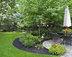 beautiful green lawn black mulch stone patio mature