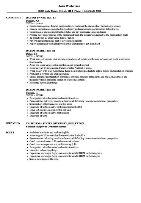 Qa Tester Resume by Qa Software Tester Resume Sles Velvet