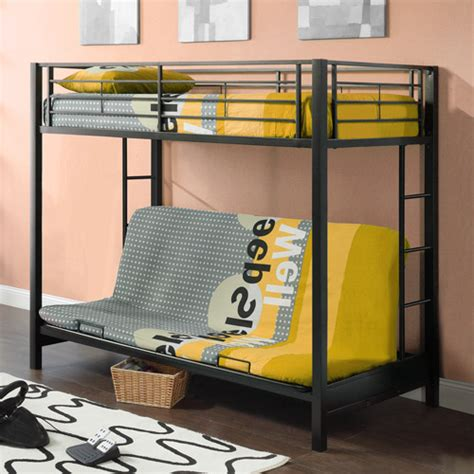 Twin Over Futon Premium Metal Bunk Bed Black Walmart Com Futon Bunk Bed Walmart