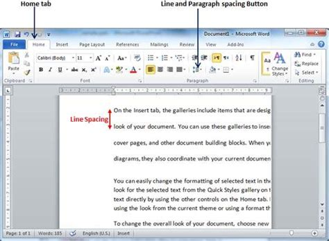 how to use spaces set line spacing in word 2010