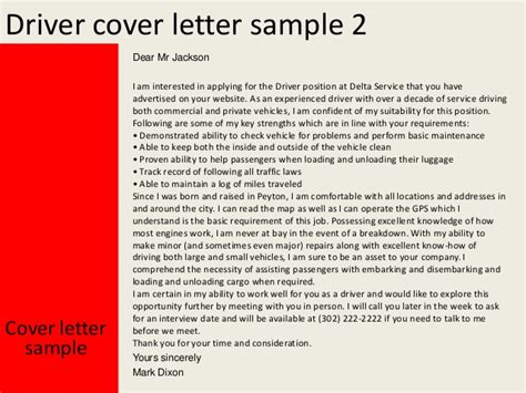 cover letter drivers mate driver cover letter