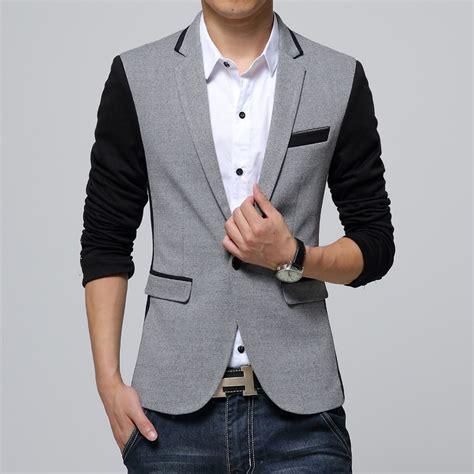 Blazer Jaket Sintetis Casual new slim fit casual brand cotton blazer jacket single button gray mens suit jacket 2018