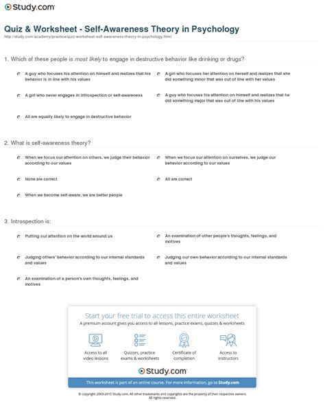 Chapter 1 What Is Psychology Review Worksheet Answers by Image Gallery Importance Of Self Awareness Worksheets