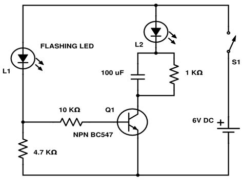 single transistor led driver schematics one transistor led flasher