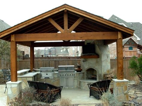 simple outdoor kitchen traditional pergola also corner stone fireplace design