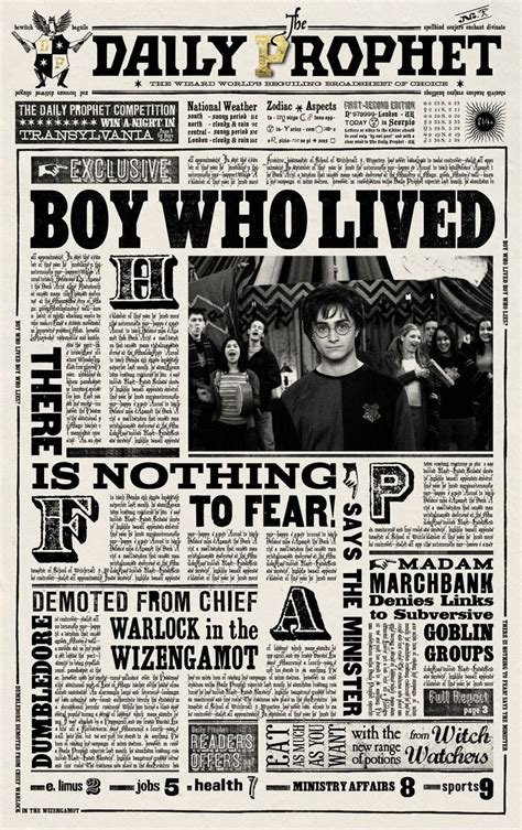 newspaper poster template harry potter daily prophet printable daily prophet harry