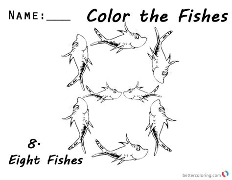 coloring page of one fish two fish one fish two fish coloring pages number eight for kids