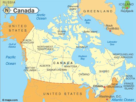 canada on map map of canada
