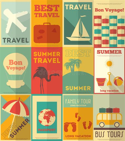 flat design poster vector flat travel posters set royalty free stock photo image