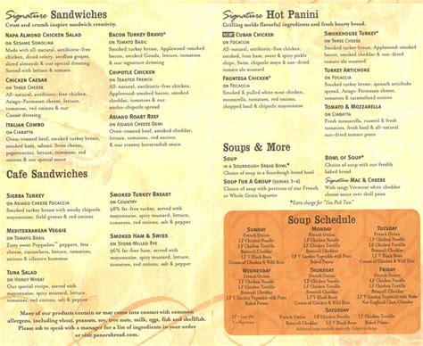 Panera Bread Printable Menu With Prices 8 best images of panera printable menu panera bread menu