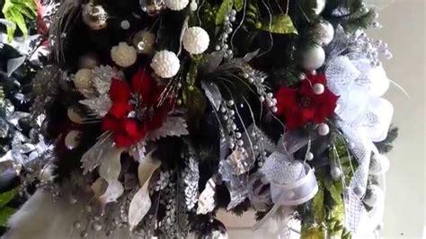 decoracion arboles de navidad 2017 plateados rojo parte 9