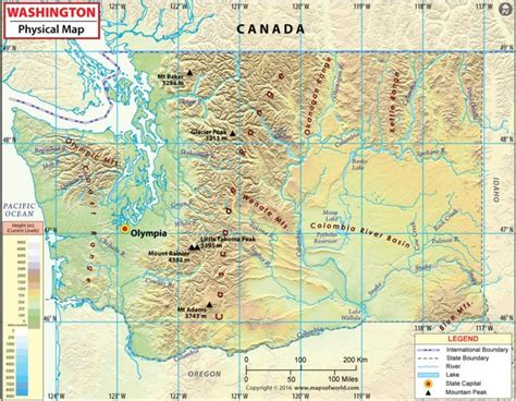 a physical map of washington buy washington physical map downloadable