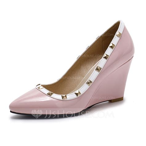 s leatherette wedge heel closed toe wedges shoes