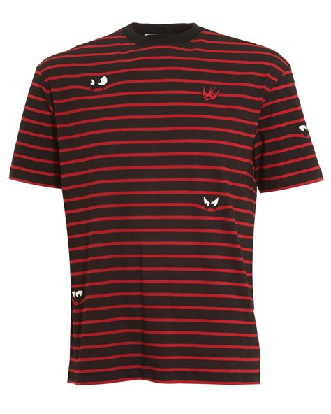 black pattern t shirts mcq by alexander mcqueen mens monster stripe pattern t