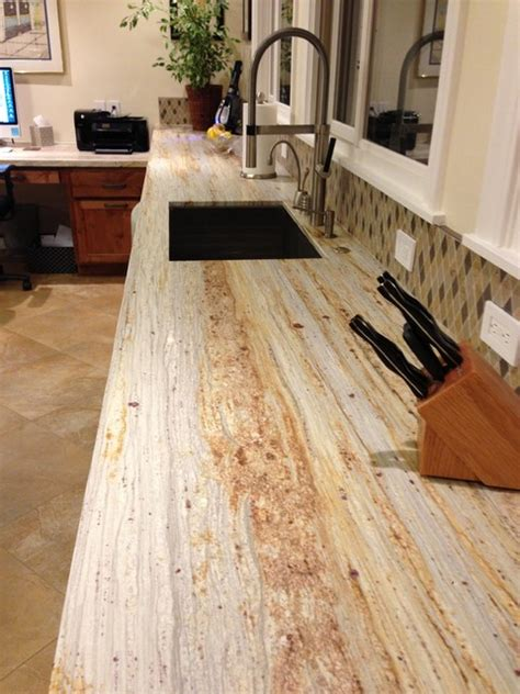 River Gold Granite Countertop by River Gold Honed Kitchen Kitchen San