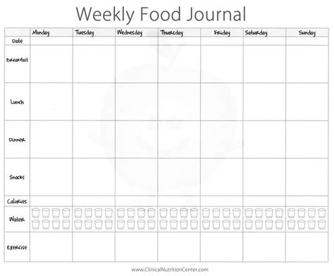 weekly food journal printable paul s house health nut