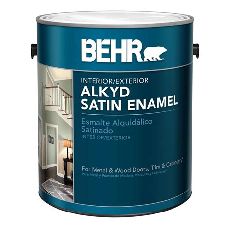 home depot paints interior behr 1 gal white alkyd satin enamel interior exterior
