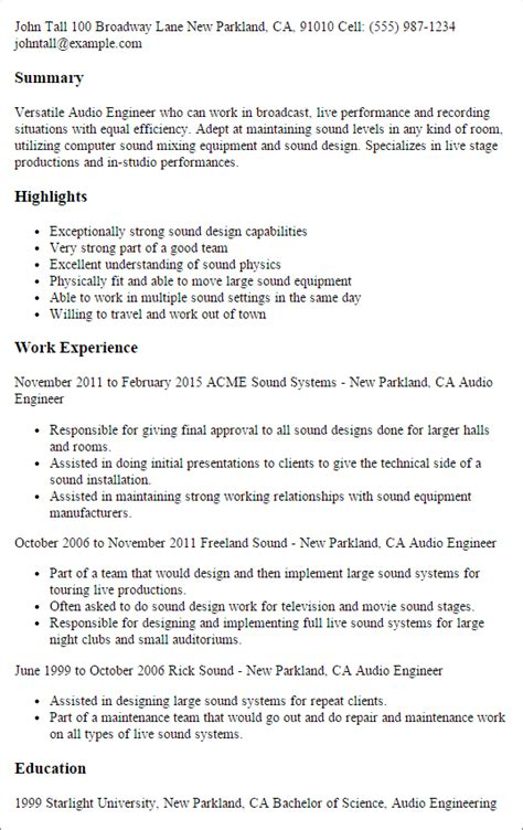Sound Engineer Cover Letter by Audio Engineer Resume Resume Ideas