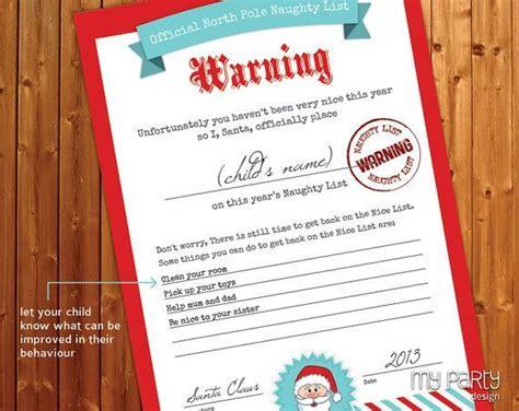 printable warning letter from santa santa naughty list certificates naughty and nice list