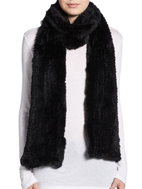 saks fifth avenue rabbit fur scarf in black lyst
