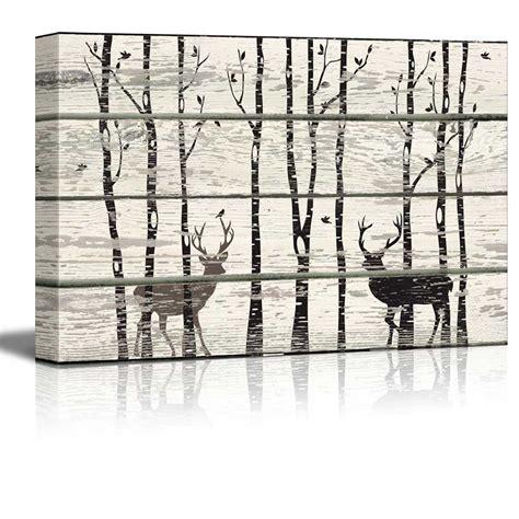 birch wood decor deer in birch forest wood cut print artwork rustic