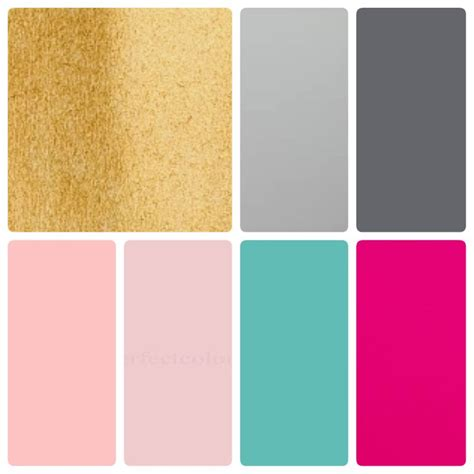 pink and grey color scheme colour palette blush pink hot pink teal gold light