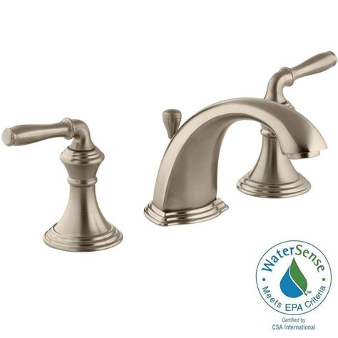 brushed copper bathroom faucets kohler devonshire 8 in widespread 2 handle low arc