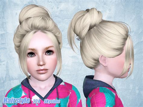 skysims hair child 188 sims 3 pinterest casual bun hairstyle 224 by skysims sims 3 hairs