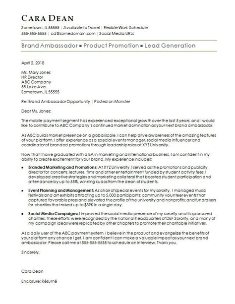 brand ambassador cover letter brand ambassador cover letter sle