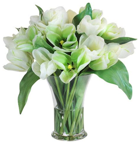Artificial Tulips In Glass Vase by Tulips Glass Vase 16 Quot Traditional Artificial Flowers