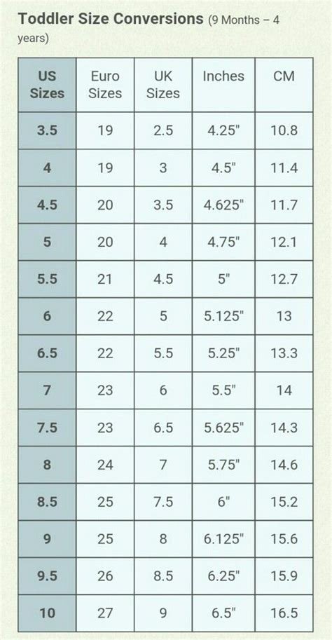 toddler shoe size conversion chart 9 months through 4 years sandals shoes and boots