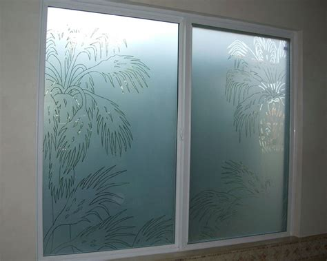 frosted glass patterns for bathrooms palm fronds bathroom windows frosted glass designs