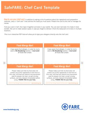 safefare chef card template fillable foodallergy a food allergy alert