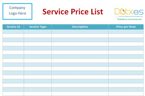 service price list template word dotxes