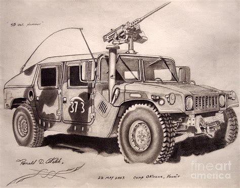 military hummer drawing 50 cal hummer drawing by ronald welch