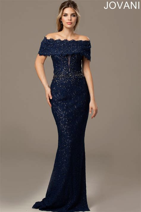 jovani dresses womens navy lace bardot dress womens dresses boudi fashion 98026a