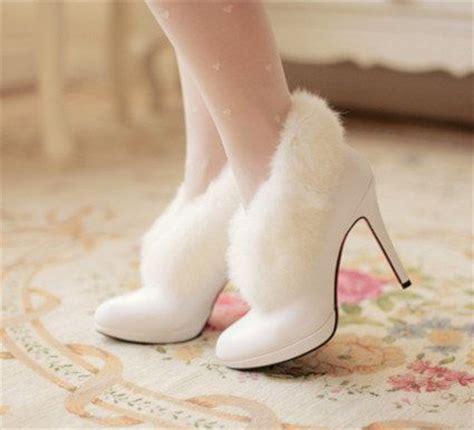 handmade white fur trim ankle boots winter bare heels