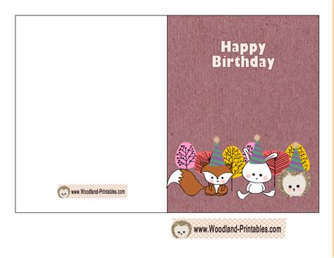 birthday card printer template free printable woodland birthday cards